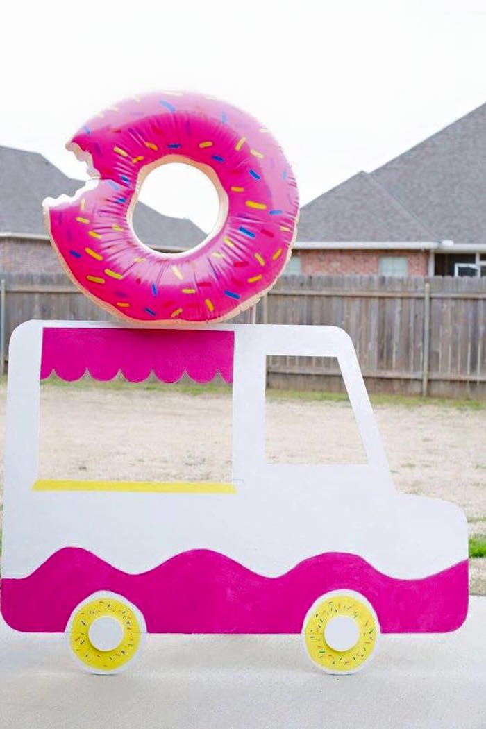 Donut Truck Photo Op from a Donut Themed Birthday Party via Kara's Party Ideas! KarasPartyIdeas.com (22)