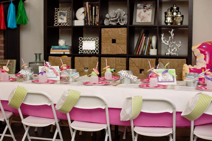 Guest Table from a Donut Themed Birthday Party via Kara's Party Ideas! KarasPartyIdeas.com (40)