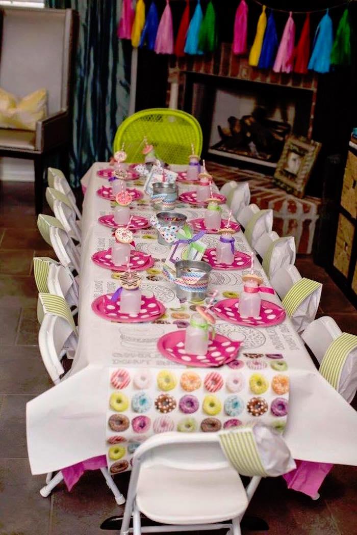 Guest Table from a Donut Themed Birthday Party via Kara's Party Ideas! KarasPartyIdeas.com (18)