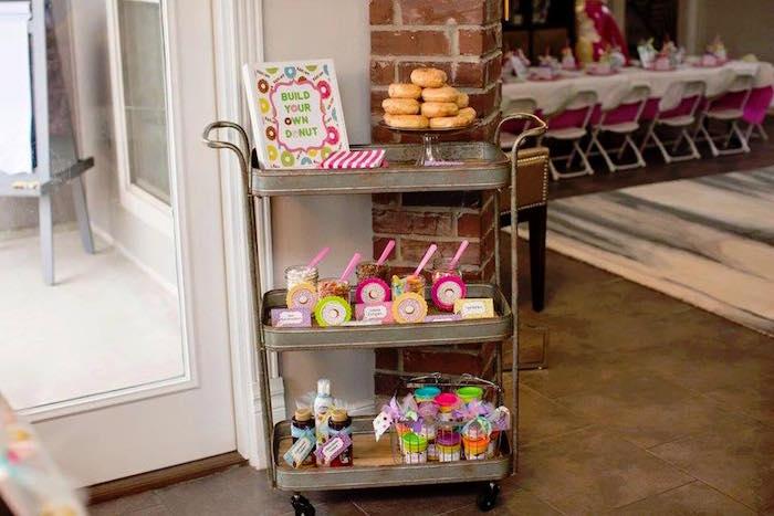 """Build Your Own Donut"" Cart from a Donut Themed Birthday Party via Kara's Party Ideas! KarasPartyIdeas.com (39)"
