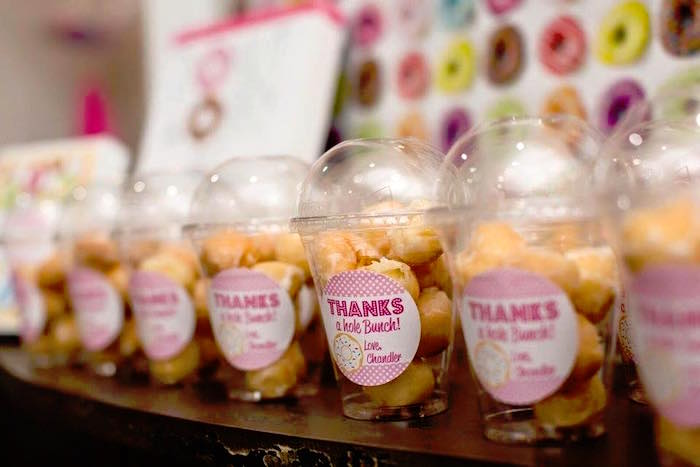 Donut Hold Favors in Cups from a Donut Themed Birthday Party via Kara's Party Ideas! KarasPartyIdeas.com (8)