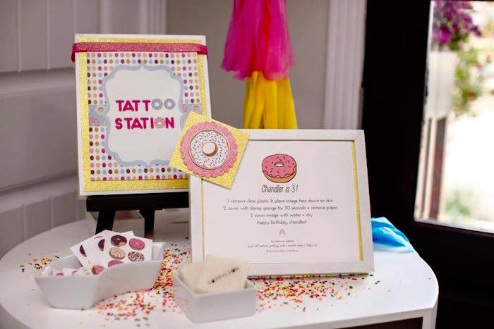 Tattoo Station from a Donut Themed Birthday Party via Kara's Party Ideas! KarasPartyIdeas.com (6)
