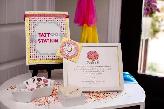 Tattoo Station from a Donut Themed Birthday Party via Kara's Party Ideas! KarasPartyIdeas.com (6)