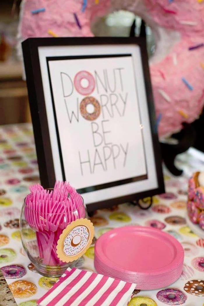 Sign + Partyware from a Donut Themed Birthday Party via Kara's Party Ideas! KarasPartyIdeas.com (38)