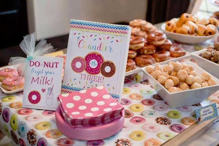 Sweet + Food Table from a Donut Themed Birthday Party via Kara's Party Ideas! KarasPartyIdeas.com (35)
