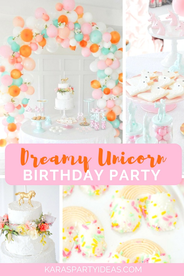 Dreamy Unicorn Birthday Party with unicorn decor, cookies, favors and more! By Kara's Party Ideas - KarasPartyIdeas.com