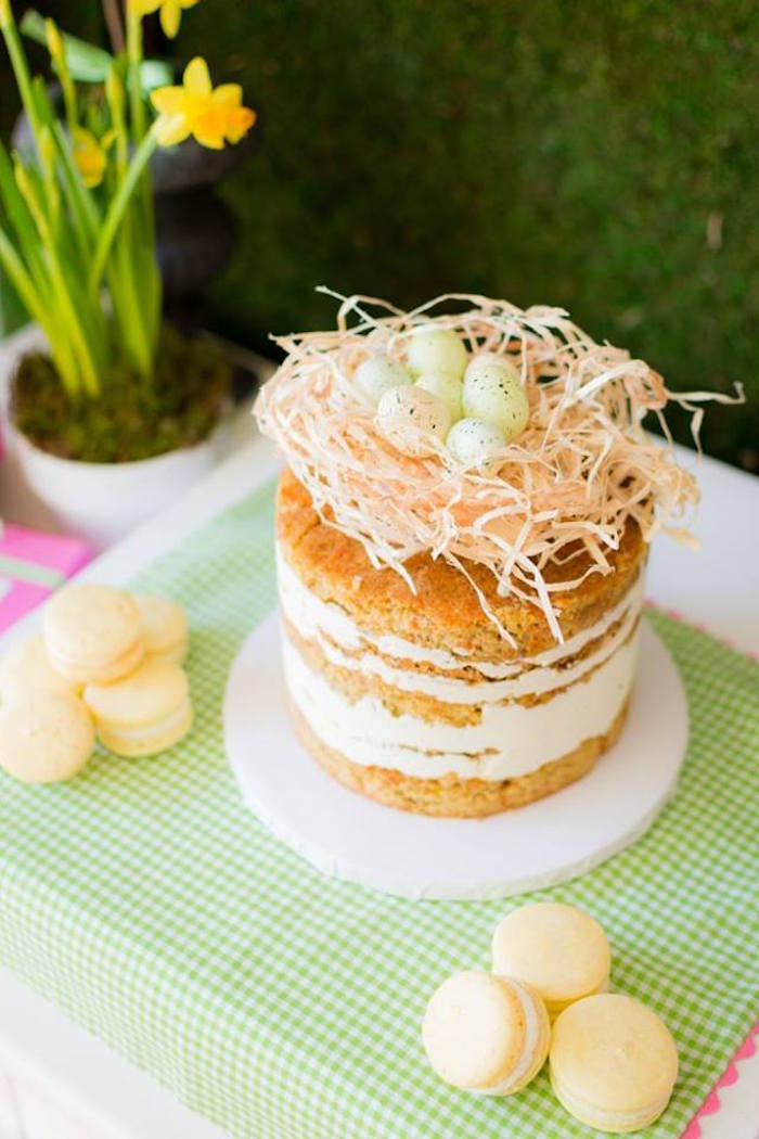 Top-view of a Cake from an Easter Bunny Brunch via Kara's Party Ideas | KarasPartyIdeas.com (25)