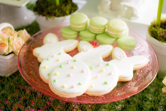 Cookies + Macarons from an Easter Bunny Brunch via Kara's Party Ideas | KarasPartyIdeas.com (24)