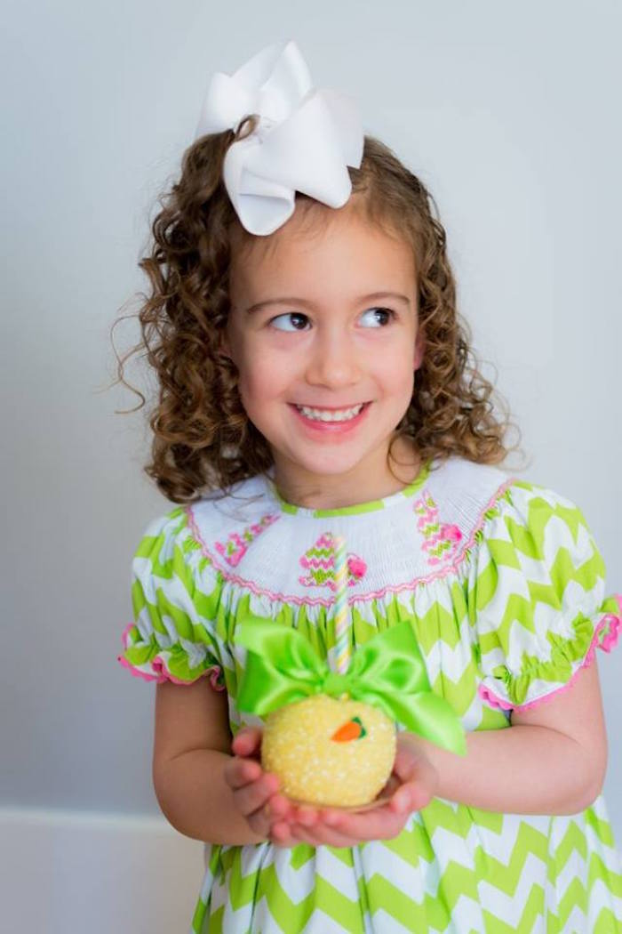 Little Girl with a Gourmet Apple from an Easter Bunny Brunch via Kara's Party Ideas | KarasPartyIdeas.com (23)