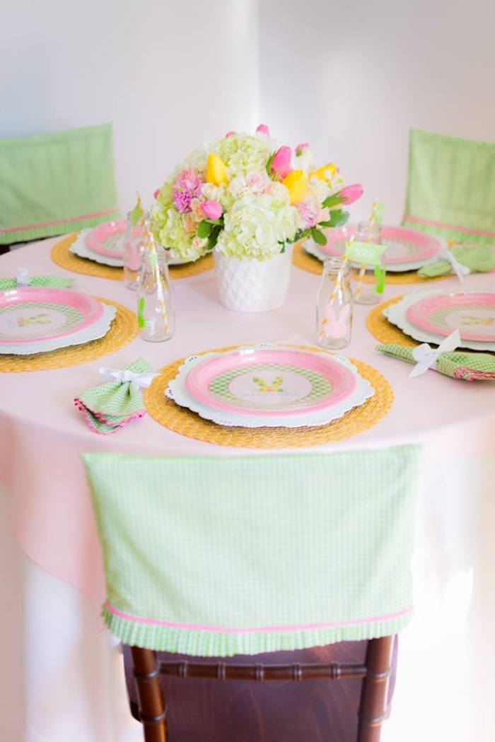 Dining Table from an Easter Bunny Brunch via Kara's Party Ideas | KarasPartyIdeas.com (20)