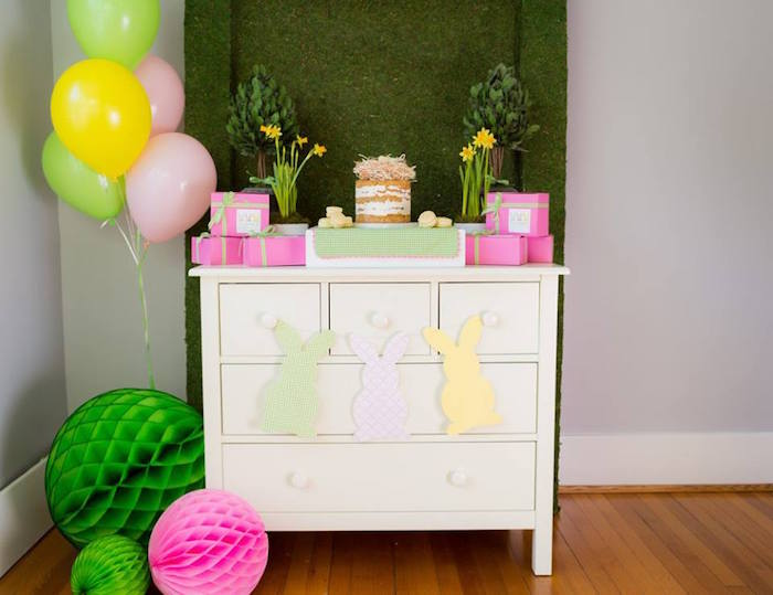 Cake Table from an Easter Bunny Brunch via Kara's Party Ideas | KarasPartyIdeas.com (19)