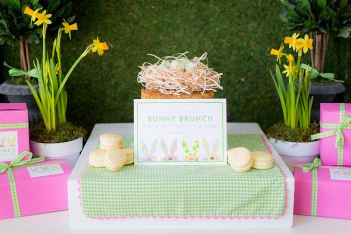 Cake + Favor Table Details from an Easter Bunny Brunch via Kara's Party Ideas | KarasPartyIdeas.com (16)