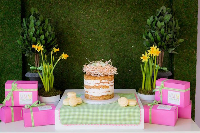 Cake Table from an Easter Bunny Brunch via Kara's Party Ideas | KarasPartyIdeas.com (14)