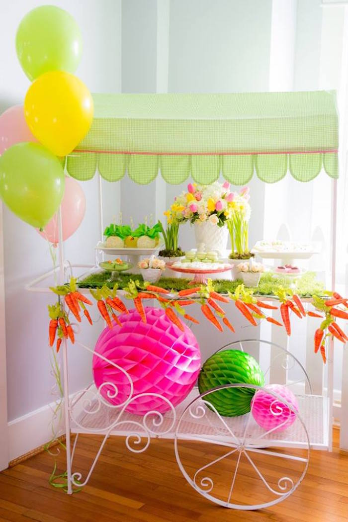 Sweet Cart from an Easter Bunny Brunch via Kara's Party Ideas | KarasPartyIdeas.com (7)