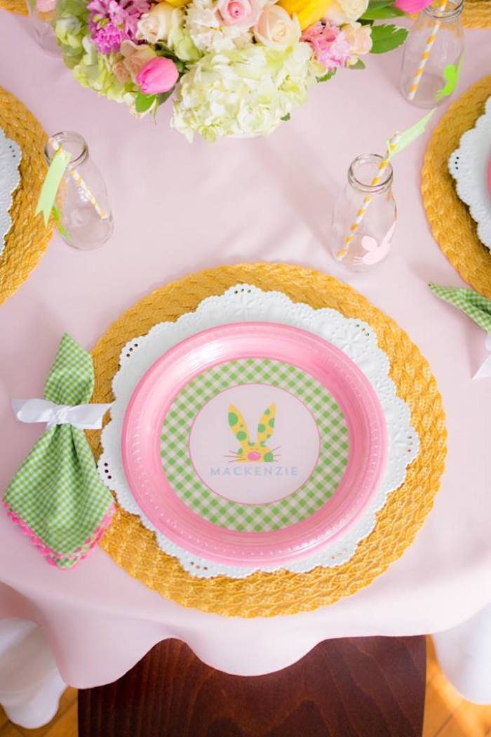 Place Setting from an Easter Bunny Brunch via Kara's Party Ideas | KarasPartyIdeas.com (6)