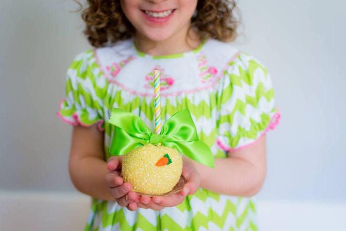 Little Girl with her Gourmet Apple from an Easter Bunny Brunch via Kara's Party Ideas | KarasPartyIdeas.com (30)
