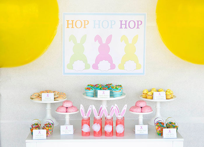 Close-up of the Dessert Table from an Easter Party for Kids with FREE Printables via Kara's Party Ideas | KarasPartyIdeas.com (18)