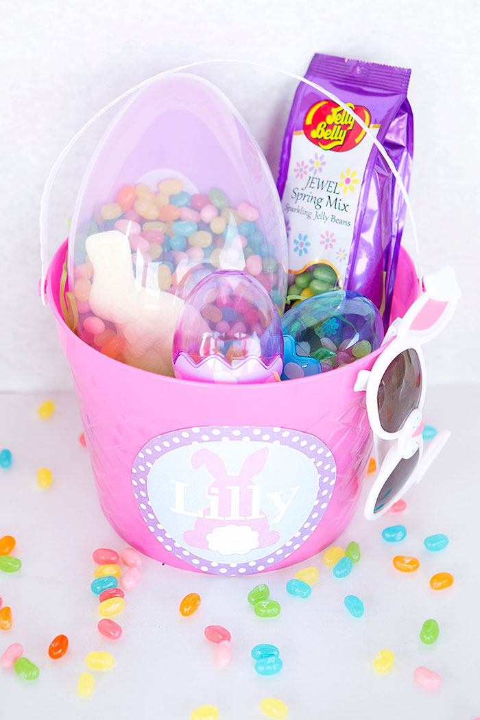 Girl Easter Basket Favor from an Easter Party for Kids with FREE Printables via Kara's Party Ideas | KarasPartyIdeas.com (17)