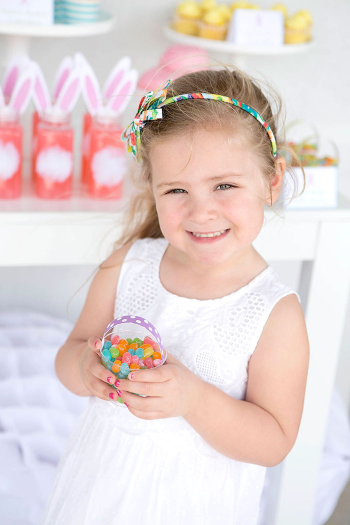 Little Girl with a Jelly Belly Easter Basket from an Easter Party for Kids with FREE Printables via Kara's Party Ideas | KarasPartyIdeas.com (15)