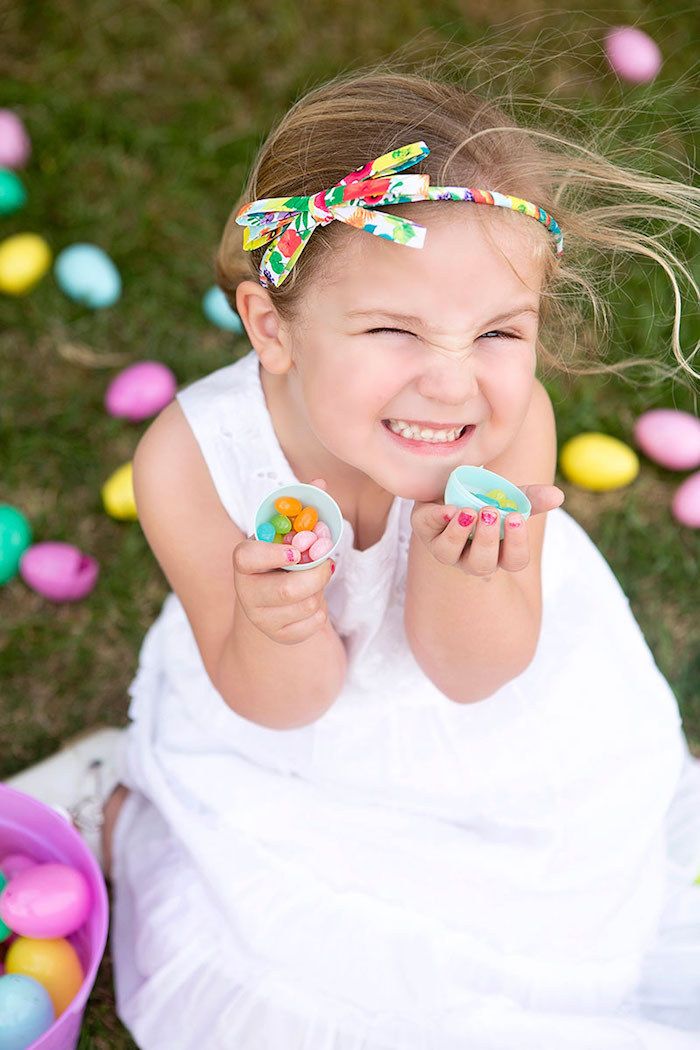 Little Girl with her Jelly Belly filled Easter Egg from an Easter Party for Kids with FREE Printables via Kara's Party Ideas | KarasPartyIdeas.com (14)