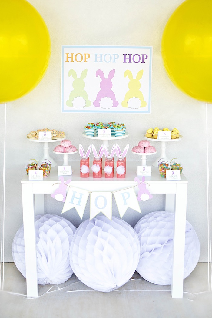 Dessert Table from an Easter Party for Kids with FREE Printables via Kara's Party Ideas | KarasPartyIdeas.com (11)