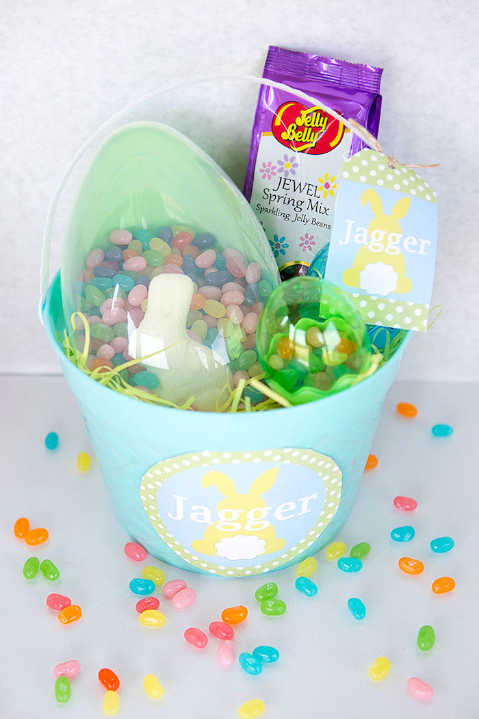 Boy Easter Basket Favor from an Easter Party for Kids with FREE Printables via Kara's Party Ideas | KarasPartyIdeas.com (27)