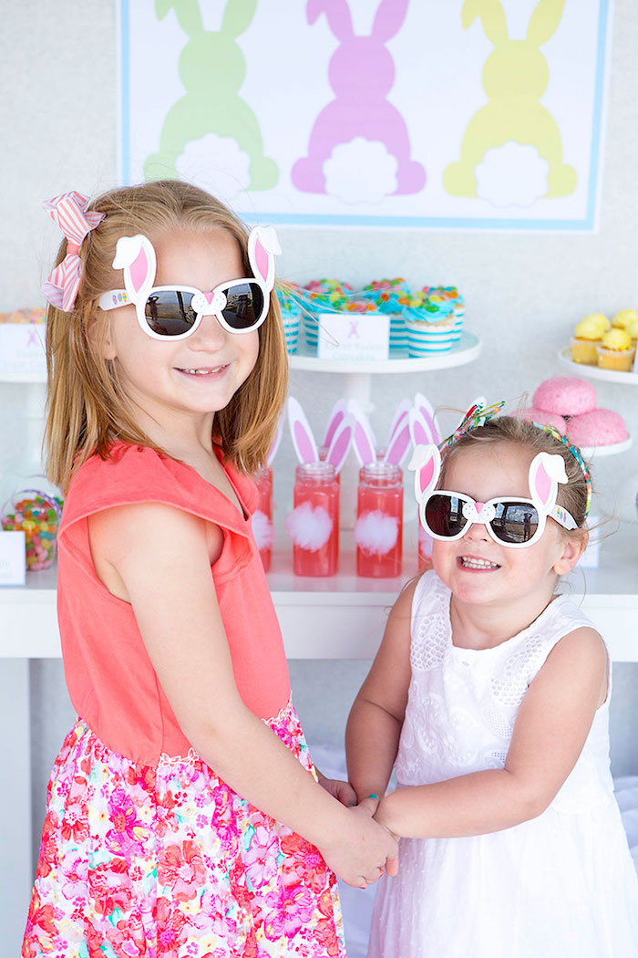 Little Girls wearing Bunny Eared Sunglasses from an Easter Party for Kids with FREE Printables via Kara's Party Ideas | KarasPartyIdeas.com (8)