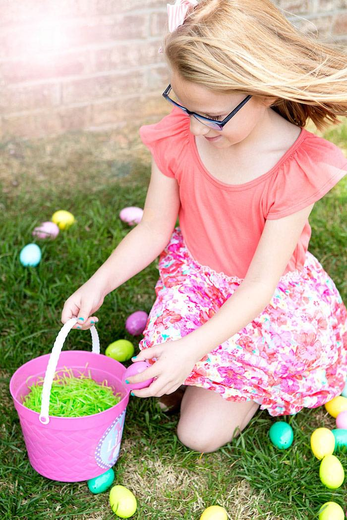 Easter Egg Hunt from an Easter Party for Kids with FREE Printables via Kara's Party Ideas | KarasPartyIdeas.com (22)