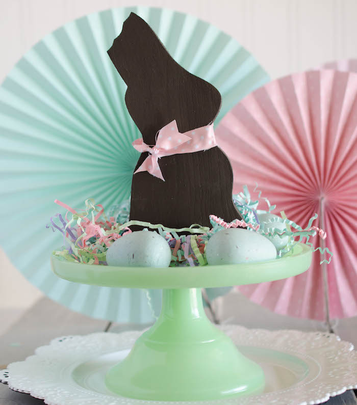 Chocolate Bunny Decor from an Easter Tea Party via Kara's Party Ideas | The Place for All Things Party! KarasPartyIdeas.com (20)