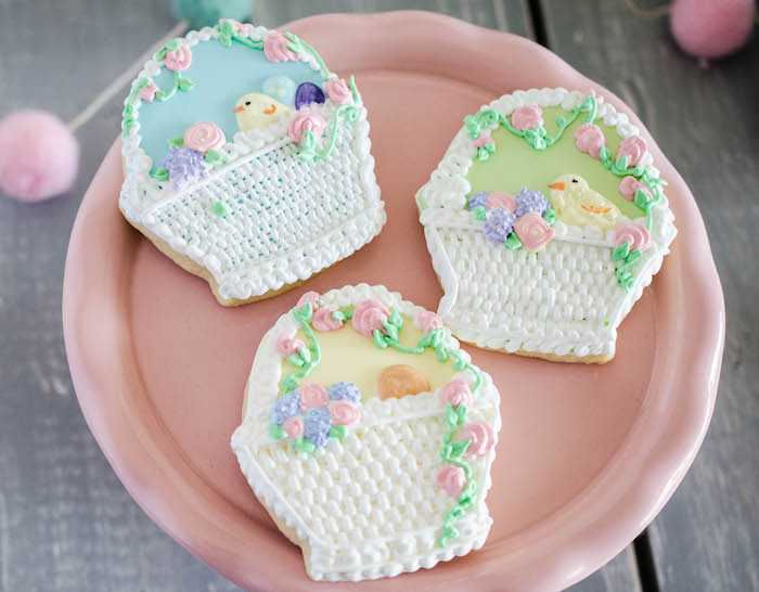 Easter Basket Cookies from an Easter Tea Party via Kara's Party Ideas | The Place for All Things Party! KarasPartyIdeas.com (14)