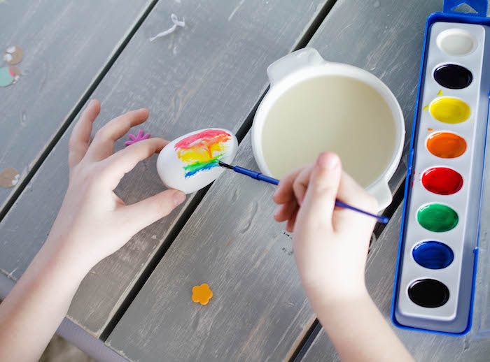 Wooden Egg Painting Activity from an Easter Tea Party via Kara's Party Ideas | The Place for All Things Party! KarasPartyIdeas.com (6)
