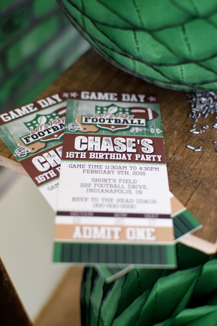 Football Ticket Invitations From A Themed Birthday Party Via Karas Ideas KarasPartyIdeas