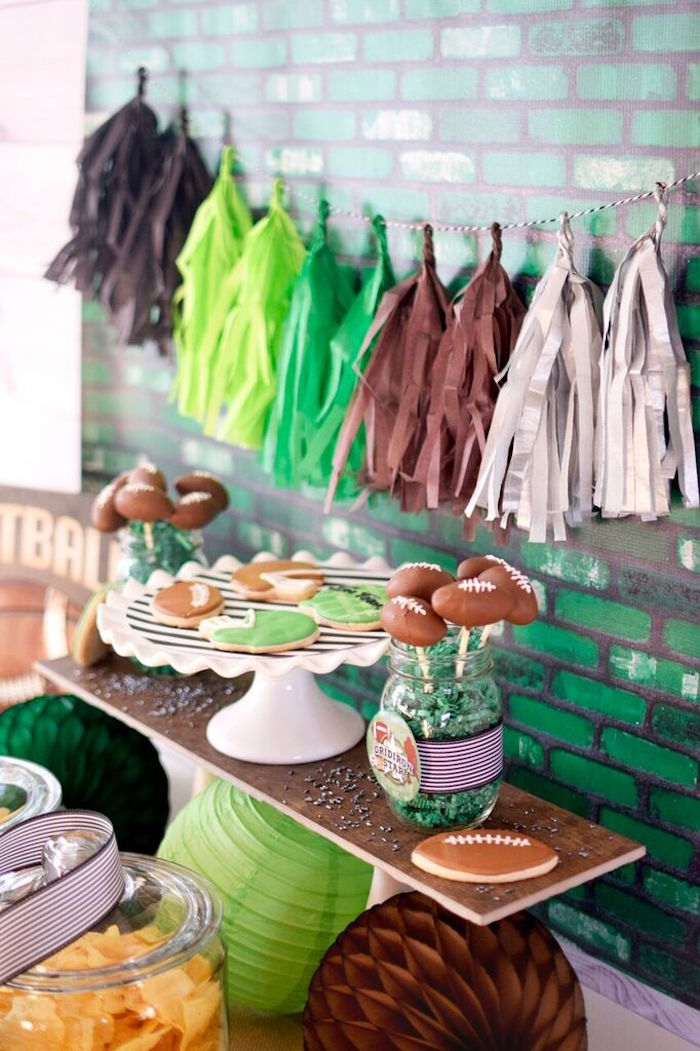 sweet snack table details from a football themed birthday party via karau0027s party ideas