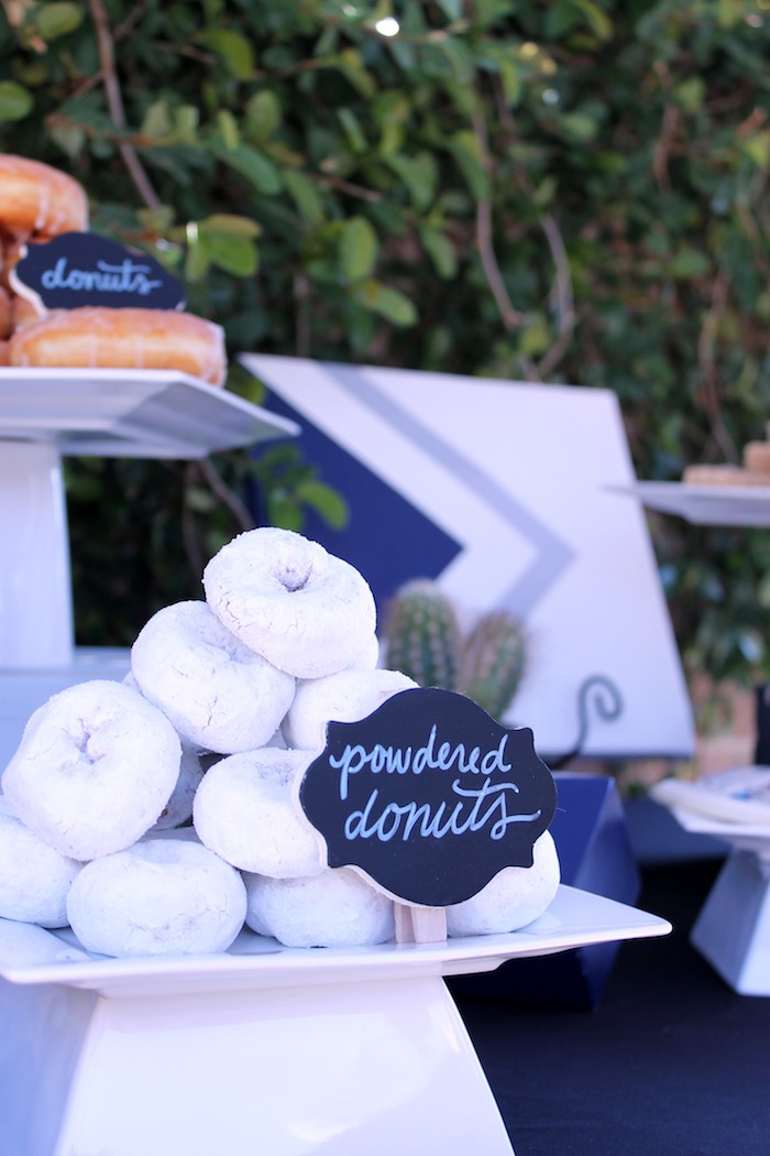 Mini Powdered Donuts from a Geometric Baby Shower via Kara's Party Ideas | KarasPartyIdeas.com (29)