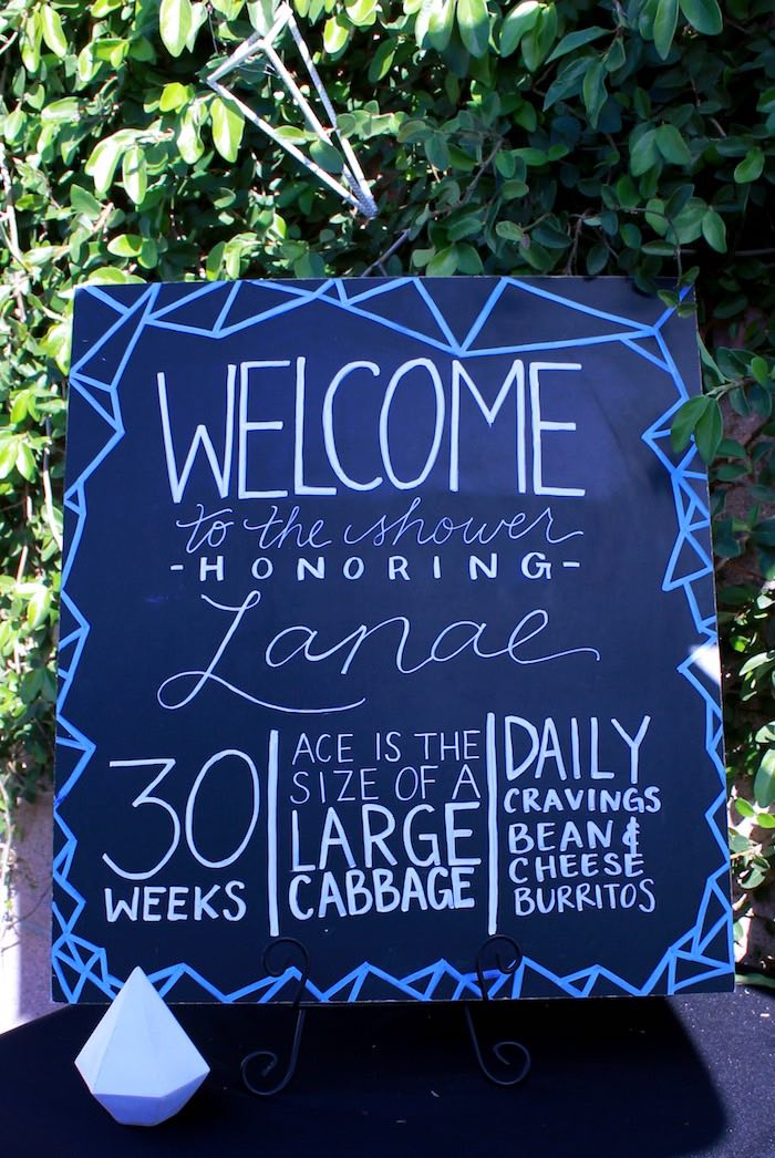 Chalkboard Welcome Sign from a Geometric Baby Shower via Kara's Party Ideas | KarasPartyIdeas.com (19)