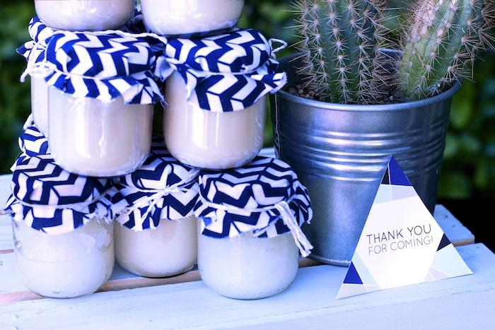 Body Scrub Favor Jars from a Geometric Baby Shower via Kara's Party Ideas | KarasPartyIdeas.com (16)
