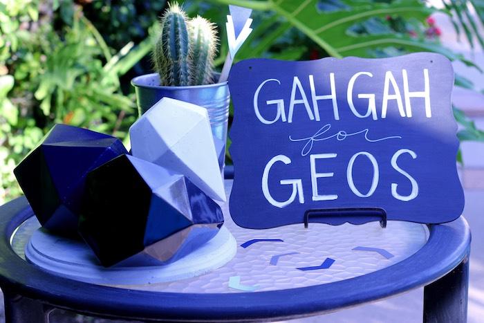 Table from a Geometric Baby Shower via Kara's Party Ideas | KarasPartyIdeas.com (14)
