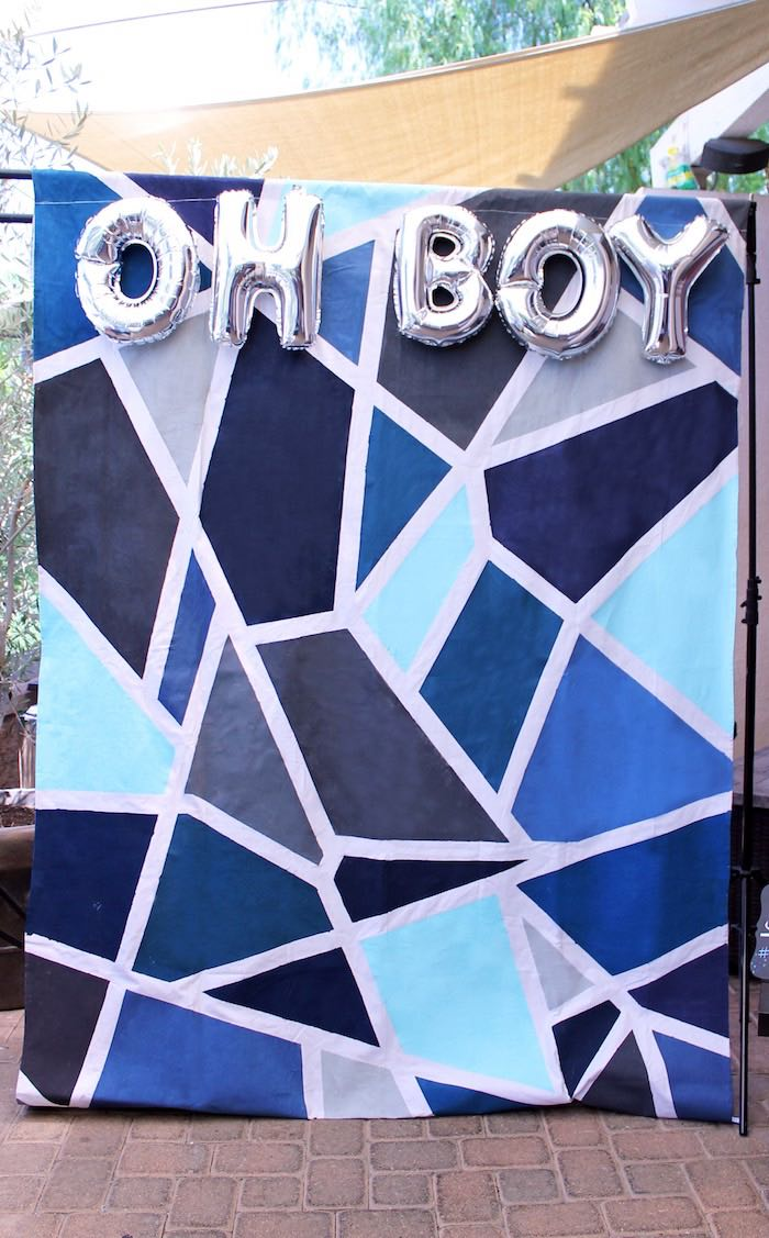 Photo Op Backdrop from a Geometric Baby Shower via Kara's Party Ideas | KarasPartyIdeas.com (37)