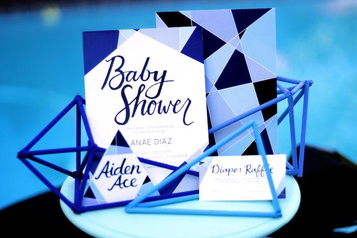 Invitation Display from a Geometric Baby Shower via Kara's Party Ideas | KarasPartyIdeas.com (5)