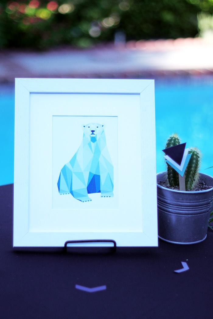 Geometric Polar Bear Sign from a Geometric Baby Shower via Kara's Party Ideas | KarasPartyIdeas.com (4)