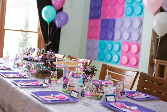 Dining Tablescape from a Girl Themed Lego Party via Kara's Party Ideas | KarasPartyIdeas.com