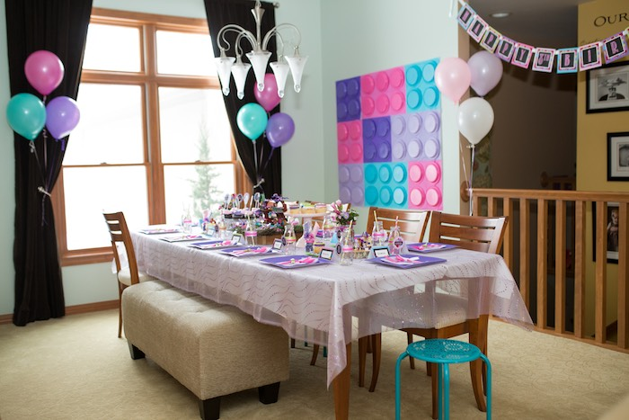 Guest Table from a Girl Themed Lego Party via Karau0027s Party Ideas | KarasPartyIdeas.com & Karau0027s Party Ideas Girl Themed Lego Elves Party | Karau0027s Party Ideas