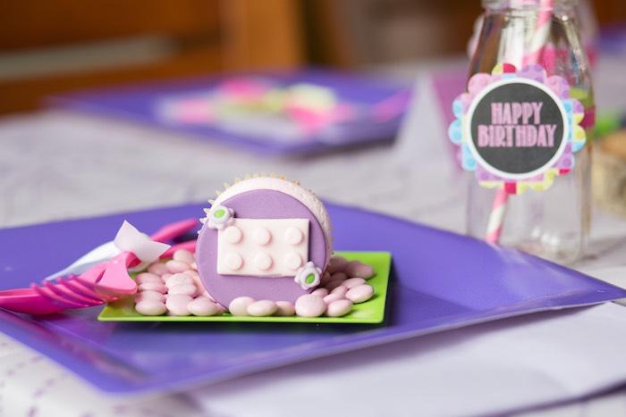 Place Setting from a Girl Themed Lego Party via Kara's Party Ideas   KarasPartyIdeas.com (21)