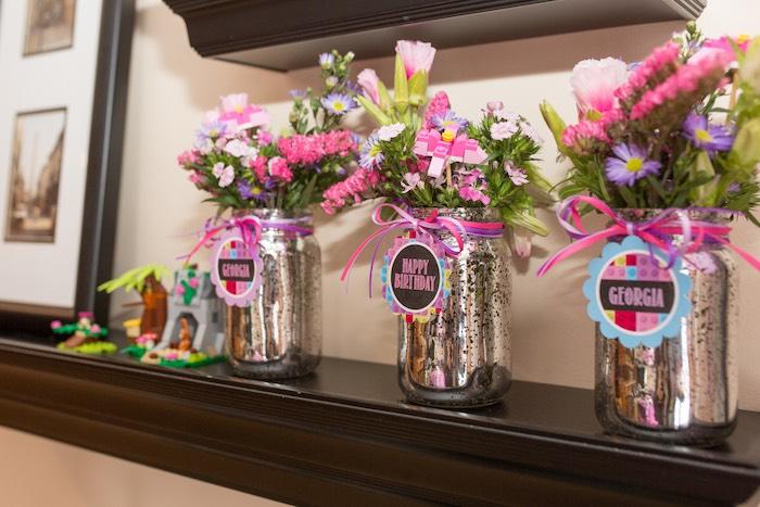 Floral Arrangements from a Girl Themed Lego Party via Kara's Party Ideas   KarasPartyIdeas.com (15)