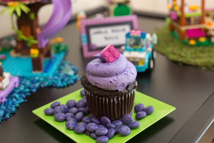 Cupcake from a Girl Themed Lego Party via Kara's Party Ideas   KarasPartyIdeas.com (12)