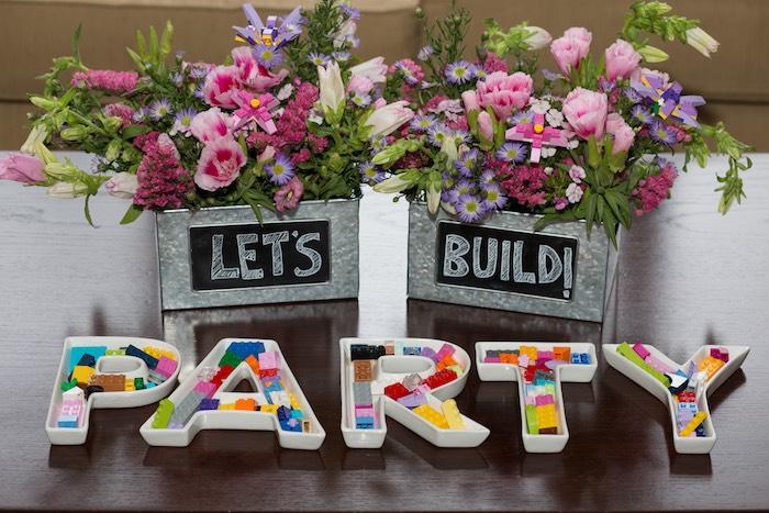 Floral Centerpieces + Decor from a Girl Themed Lego Party via Kara's Party Ideas   KarasPartyIdeas.com (5)