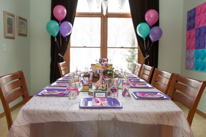 Guest Table from a Girl Themed Lego Party via Kara's Party Ideas   KarasPartyIdeas.com (34)