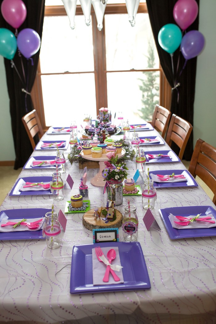 Guest Table Display from a Girl Themed Lego Party via Kara's Party Ideas |  KarasPartyIdeas.