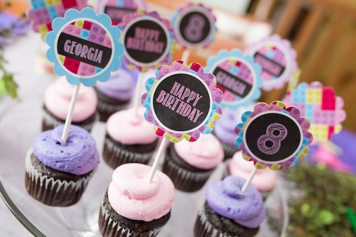 Cupcakes from a Girl Themed Lego Party via Kara's Party Ideas   KarasPartyIdeas.com (30)