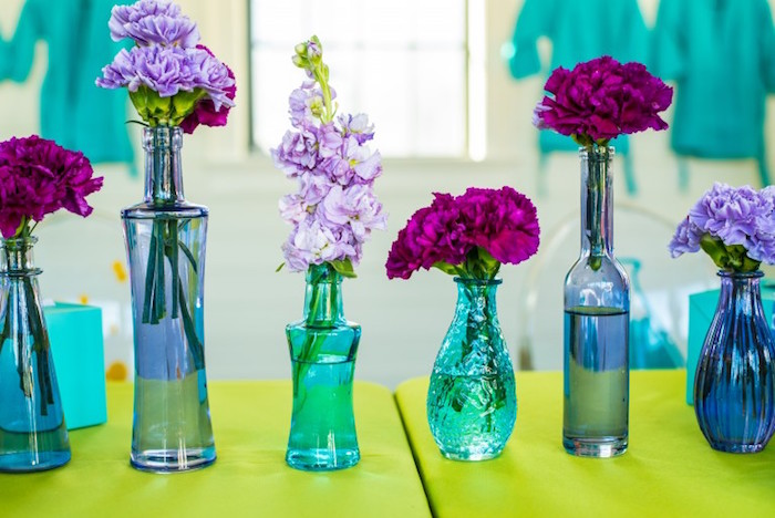 Floral Arrangements from a Girly Scientific Spa Birthday Party via Kara's Party Ideas! KarasPartyIdeas.com (7)